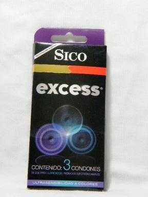 Sico Excess condon ajustado, delgado y de colores, 3 diferentes colores por paquete, caja con 3, supercondon.com.mx